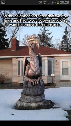 Dragon carved from tree