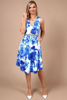1fc40b038227 Genevieve Blue Rose Print Skater Dress. Virgo Boutique Fashion