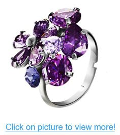 Purple Flowers Zircon Size Adjustable Platinum Plated Ring for Teen Girl