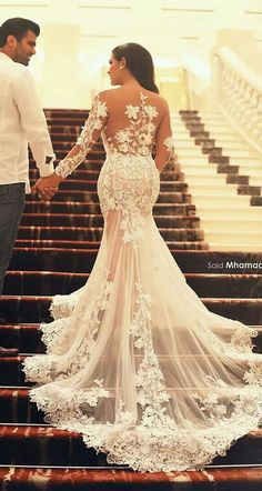 New Fashion Sexy See Through Mermaid Wedding Dresses Sheer Scoop and Back  Court Train Applique Lace Long Sleeve Wedding Bridal Gowns 20baf5091bf5
