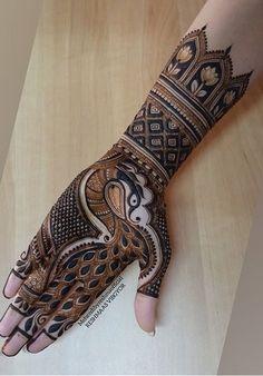 Peacock Mehndi Designs, Henna Designs, Mehendi, Hand Henna, Hand Tattoos, Henna Art Designs, Mehndi