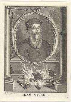 anoniem | Portret van John Wyclif, workshop of Bernard Picart, 1713 | Portret van de Engelse kerkhervormerJohn Wyclif. Op de piëdestal boeken die verbranden in een vuur.
