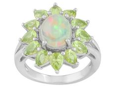 .97ct Oval Ethiopian Opal With 1.84ctw Pear Shape Manchurain Peridot(Tm) Sterling Silver Ring