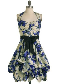 Indigo Gardens Dress - I am absolutely in love with this dress. The black sash is removable and the bottom ties up to create more flare or unties to create a fit and flare silhouette.