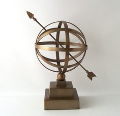vintage brass armillary sphere sun dial by RecycleBuyVintage, $80.00