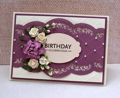 cards made with spellbinders scalloped borders Card Creator, Spellbinders Cards, Shaped Cards, Die Cut Cards, Card Making Techniques, Mothers Day Cards, Card Making Inspiration, Flower Cards, Cool Cards