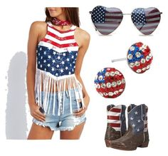 """USA ❤️"" by avj-edwards on Polyvore featuring Charlotte Russe, Roper and ZooShoo"