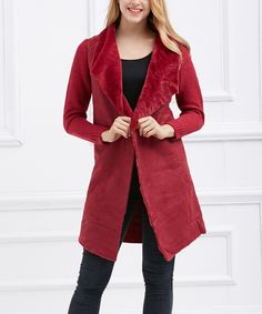 Look at this #zulilyfind! Simply Couture Red Faux Fur-Lapel Wool-Blend Long Cardigan by Simply Couture #zulilyfinds