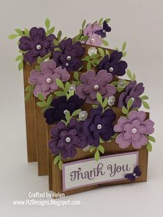 Double Floral Cascade Card is basically two interlocking angled z fold cards. base panels are long x at the front & at the rear. PURPLE - Elegant Eggplant, Perfect Plum, Pale Plum, Certainly Celery & Whisper WhiteFloral cascade card - lovely for Moth Tri Fold Cards, Fancy Fold Cards, Folded Cards, Tarjetas Stampin Up, Tarjetas Diy, Cascading Card, Pop Up Box Cards, Step Cards, Shaped Cards
