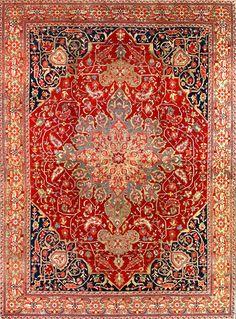 13.1 x 17.10 Over Size Antique Persian Heriz Carpet,Circa 1900  I QUADRIFOGLIO GALLERY