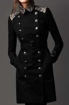 Celebrities who wear, use, or own Burberry Gem Embellished Trench Coat. Also discover the movies, TV shows, and events associated with Burberry Gem Embellished Trench Coat. Burberry Prorsum, High Fashion, Winter Fashion, Womens Fashion, Military Fashion, Passion For Fashion, Mantel, Ideias Fashion, Fashion Dresses