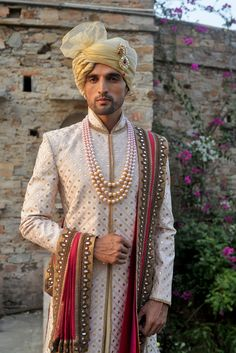 """Punit Arora"" label is presented in different renowned stores in both India and abroad. Royal Indian Wedding, Wedding Dresses Men Indian, Wedding Outfits For Groom, Groom Wedding Dress, Bridal Outfits, Wedding Suits, Sherwani For Men Wedding, Sherwani Groom, Mens Sherwani"