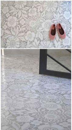 lace stencil floor. LOVE IT!