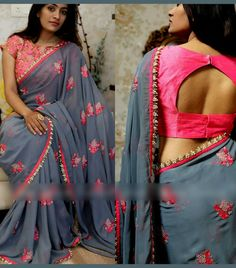 Best 10 Redymade Blouse With Sari Indian Georgette And Work Designer Bollywood Sari ZF Wedding Saree Blouse Designs, Saree Blouse Neck Designs, Simple Blouse Designs, Stylish Blouse Design, Blouse Patterns, Indian Blouse Designs, Bollywood Sari, Fancy Sarees, Indiana
