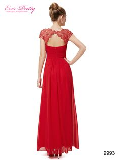 Red Lacey Neckline Open Back Ruched Bust Evening Dress
