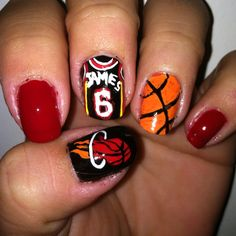 Miami Heat- Sports Nail Design --Michelle Reckelhoff.
