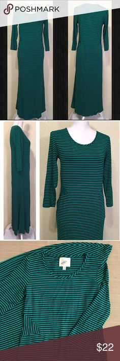 "NWOT Nurture Green & Black Striped Long Dress NWOT.  Brand is Nurture.  Green & Black Striped Long Dress.  Size M.  Excellent like-new condition.  Length shoulder to hem: 52"".  Laid flat – bust: 34"", waist: 32"", hips: 40"", bottom of dress: 80"" around.  Sleeve length: 18"".  Cuff width: 4"".  95% rayon, 5% spandex – medium weight, drapes well, has stretch.  Hand wash, lay flat to dry.   Love it but not the price - I'm open to (reasonable) offers or consider bundling 2 or more items for an…"