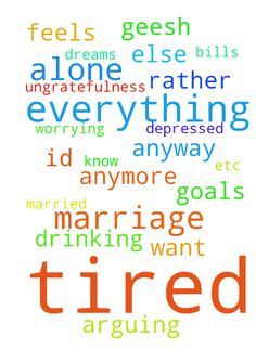 What do I do I'm tired of everything marriage, and - What do I do Im tired of everything marriage, and everything else Im so tired of arguing and his drinking and not having any goals and dreams Im tired of doing it all please please please I dont know what to do tired of being depressed and worrYing about bills and etc. and I just dont want to be married anymore tired of his ungratefulness Id rather be alone it feels like Im alone anyway geesh Lord Jesus Help Me  Posted at…