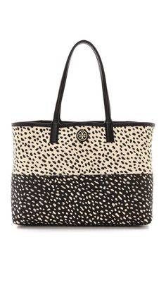 dotted tote bag // tory burch // leopard // black and white