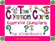 """Pre-K through 2nd grade """"Essential Questions Posters"""" made-to-match the """"Cutest-EVER!!! Common Core Standard Posters"""" also listed on TpT!!  Be sure to click on """"Follow Us"""" here as well as on TpT to receive notification of """"Free Download Windows"""" for items monthly!!  www.SecretStories.com (Secret Stories; brain-based literacy; reading; writing; phonics; common core; katie garner)"""