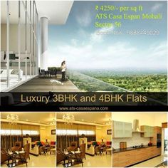 Luxury 3BHK and 4BHK - ₹ 4250/- per sq ft ATS #Mohali, Sector 56 Contact : 9888449029 Visit :http://goo.gl/Vr48cz
