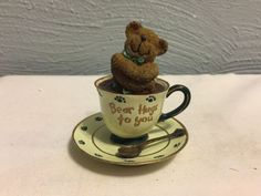 "Boyds Huggles Teabearie Bear Hugs To You Teddy in Teacup 3"" Figurine 24314"