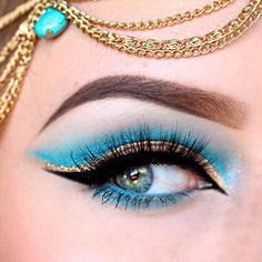 "Turquoise and Gold Makeup Inspired by Jasmine From Disneys ""Aladdin"""