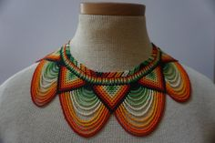 Embera beaded statement necklace by HouseofJwara on Etsy Beaded Necklace Patterns, Beaded Statement Necklace, Beaded Jewelry, Crochet Necklace, Handmade Jewelry, Mexican Jewelry, Native Beadwork, Diy Couture, Bib Necklaces