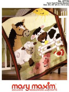 Adorable Farm Animals afghan. Fantastic Graph-ghan pattern. Crochet using our worsted weight yarn. Follow this easy graph to make this wonderful blanket.