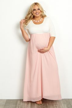 c9bc55941b Light Pink Chiffon Colorblock Plus Maternity Maxi Dress
