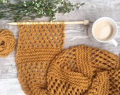Honeycombs Summer Easy Scarf Knitting Pattern
