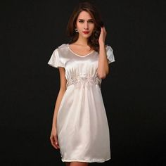 Silky Sexy Soft V-Neck Elegant Ladies Nightgown L-XL 2 Colors