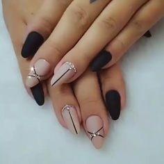 Halloween Acrylic Nails, Best Acrylic Nails, Acrylic Nail Designs, Matte Nail Designs Ideas, Line Nail Designs, Square Nail Designs, Elegant Nail Designs, Nail Ideas, Elegant Nails