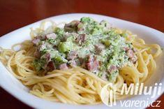 Špagety ve smetanovo-brokolicové omáčce Spaghetti, Food And Drink, Cooking Recipes, Pizza, Ethnic Recipes, Fitness, Kochen, Cooker Recipes, Keep Fit