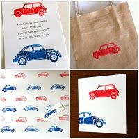 VW Beetle and Mini Minor Car Stamps by Chantal Vincent
