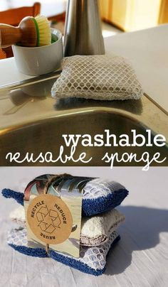 natural cleaning Save money and the environment with un sponges, washable and reusable sponges are a great addition to your zero waste lifestyle. Reuseable sponges made using upcycled materials, flannel and terry cloth. Reduce Waste, Zero Waste, Green Living Tips, Reduce Reuse Recycle, Repurpose, Natural Cleaning Products, Sustainable Living, Sustainable Products, Cleaning Hacks