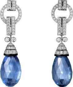 CARTIER. Earrings, platinum, two briolette-cut sapphires totaling 40.76 carats, onyx, brilliant-cut diamonds. #Cartier #CartierRoyal #2014 #HauteJoaillerie #HighJewellery #FineJewelry #Sapphire #Agate #Onyx #Diamond