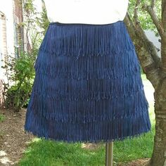 "Thayer CRETE Fringe Skirt Like new can be dressed up or down.  Pair it with the american apparel shirt for a cute look see last pic for reference. 14"" length,  100% polyester made in NYC, skirt runs a size small thayer Skirts Mini"
