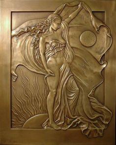 Nyx, Greek goddess of night, daughter of Chaos, mother of Hypnos the god of… Sculpture Art, Sculptures, Metal Embossing, Copper Art, Art Carved, Mythological Creatures, Star Citizen, Art Mural, Tile Art