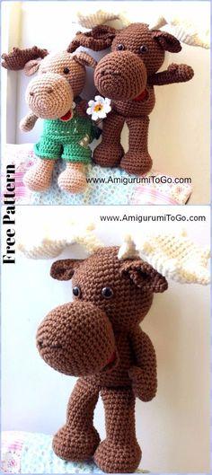 Crochet Large Crochet Moose Free Pattern - Crochet Amigurumi Deer Toy Softies Free Patterns