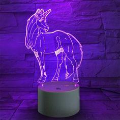 Unicorn 9 Color Changing Birthday Gift Room Decorative Night Light - TRANSPARENT