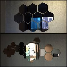 And honeycomb ideas Mirror Wall Collage, Mirror Wall Stickers, Mirror Art, Ikea Mirror, Mirror Tiles, Glass Design, Wall Design, Honeycomb Tile, Hallway Inspiration