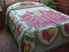 Nice 1950's peacock chenille bedspread- 2 peacocks- red and green feathers size is 95X102 inches