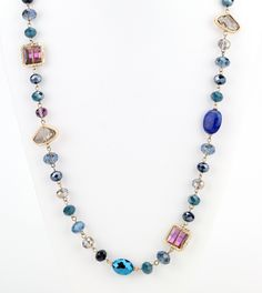 """Opalescent and iridescent beads and bluecolor huesform a beautiful style long necklace. 24"""" long, with 2"""" extender glass/acrylic/gold plated Great if paired w"""