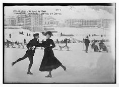 """Mr. and Mrs. Johnson of England - champions in """"pairs"""" skating at Davos, Switzerland"""