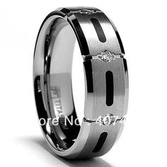 Free Shipping USA Hot Selling Unique 7MM Titanium Ring Wedding Band with Resin Inlay and 3 Stone CZ Sizes 8 to 13