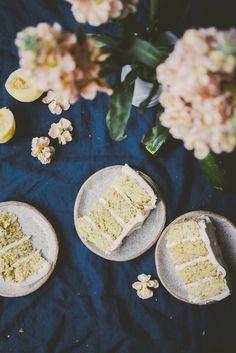 Zucchini Cake with Lemon Swiss Meringue Buttercream and Lemon Glaze | bettysliu.com