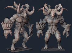 3d fantasy character buffalo model monster - image