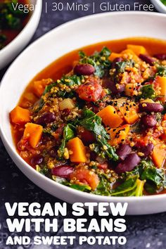This hearty vegan stew is packed with sweet potato, beans and quinoa to make it an easy and healthy winter meal that's also gluten free! Plus it only takes 30 minutes to make. #thecookreport #veganstew #veganrecipes