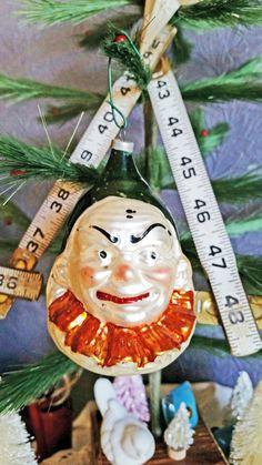 "Vintage Glass Ornament ""Joey"" Clown Head Mercury Glass Angry Clown"